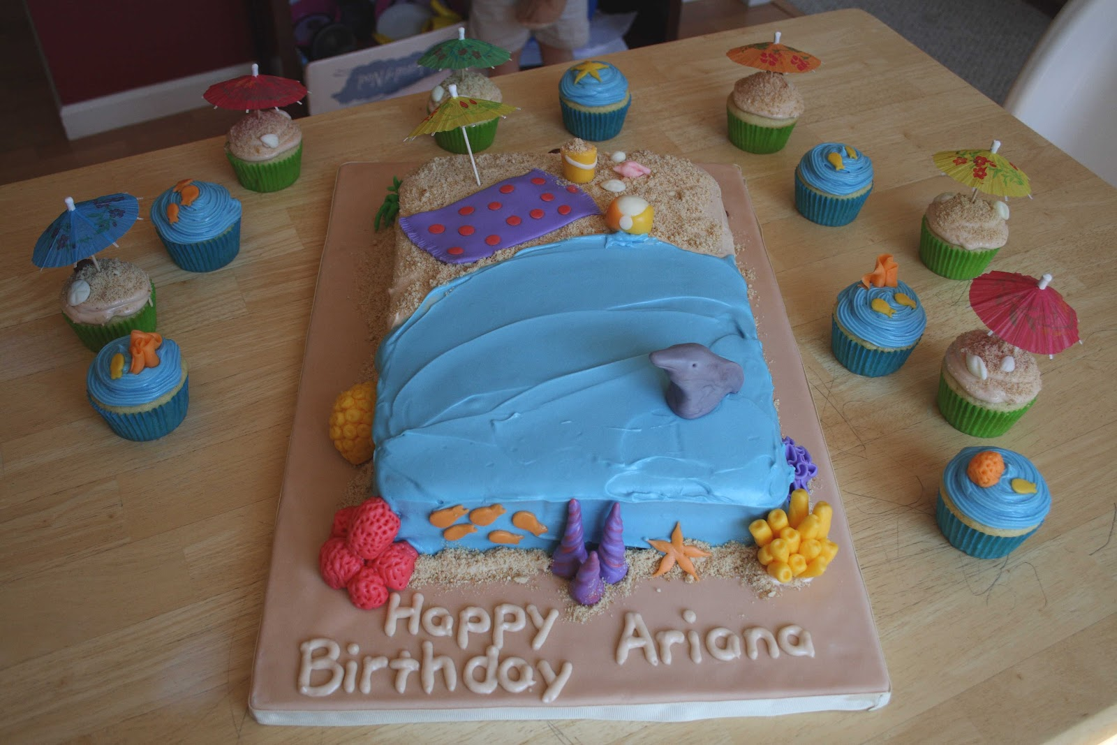 All Kinds Of Sugar Beach Themed Birthday Cake