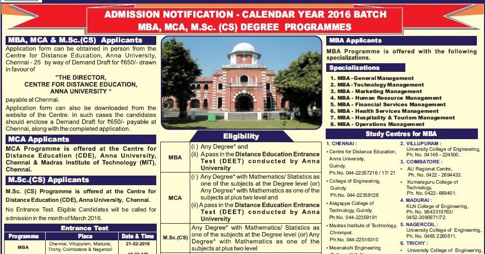 Anna University Chennai Centre for Distance Education ...