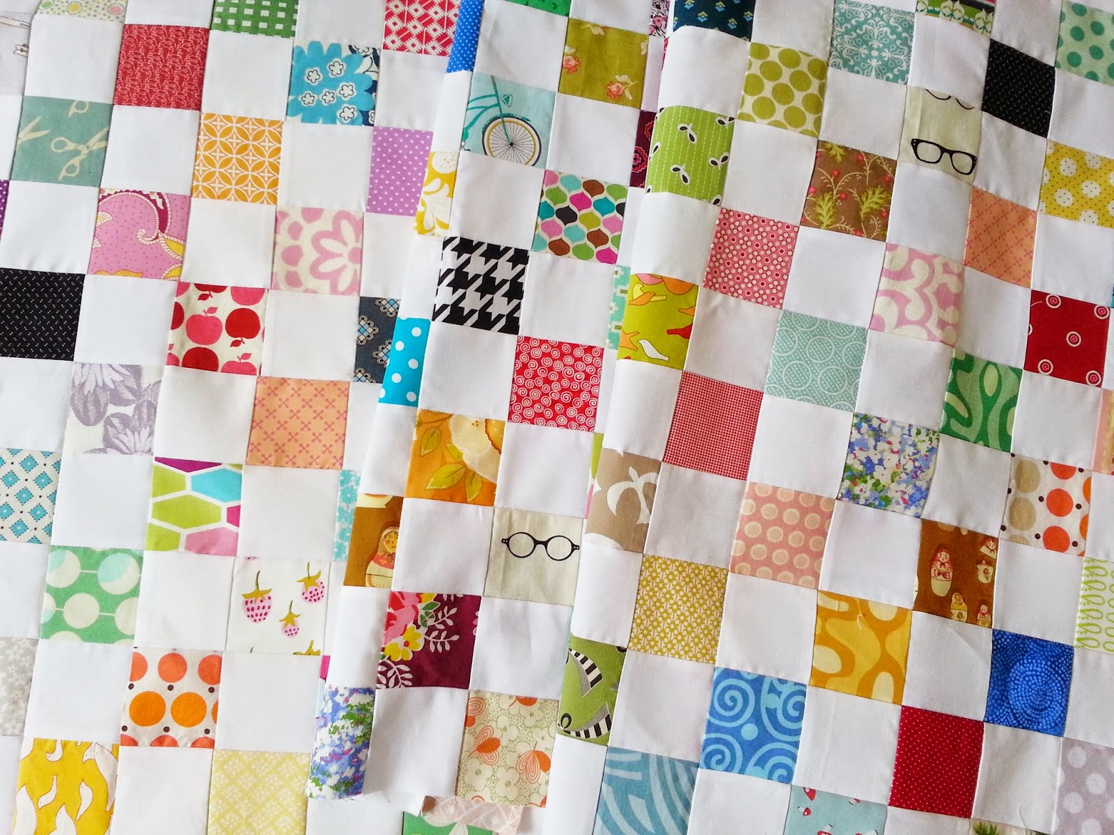 Bright and Cheery Postage Stamp Quilt Top