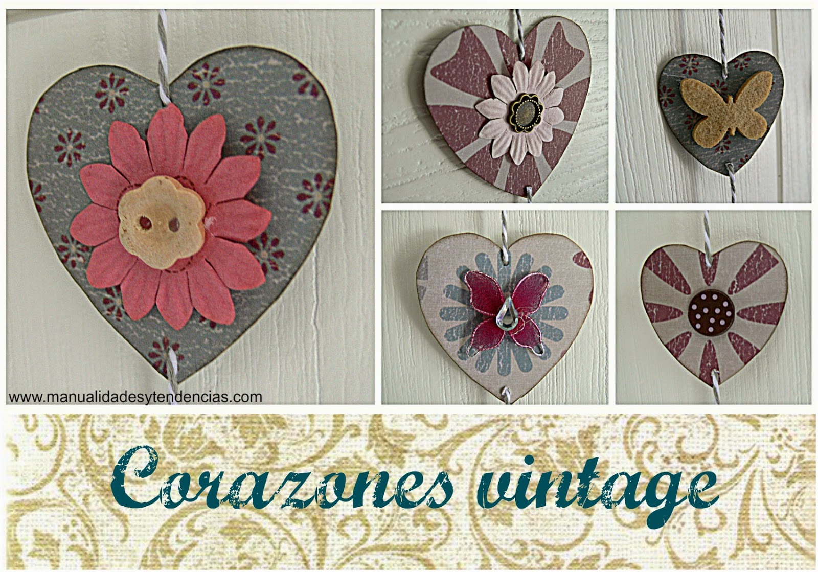 guirnalda vintage de corazones para San Valentín