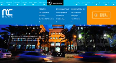 Page d'accueil de NIC Bank