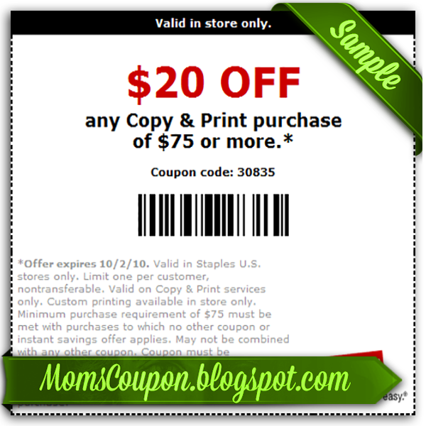 Discount coupons for staples in store