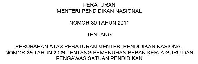 Permendiknas Nomor 30 Tahun 2011