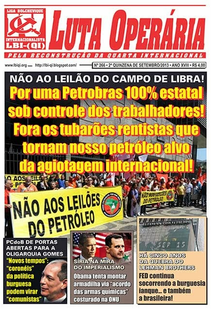 LEIA A EDIÇÃO DO JORNAL LUTA OPERÁRIA, Nº 266, 2ª QUINZENA DE SETEMBRO/2013