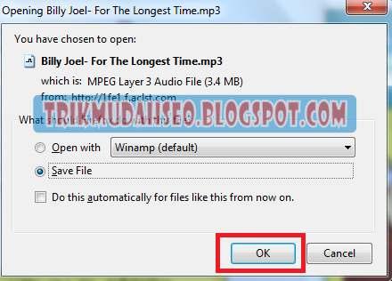 pilih simpan dan klik OK