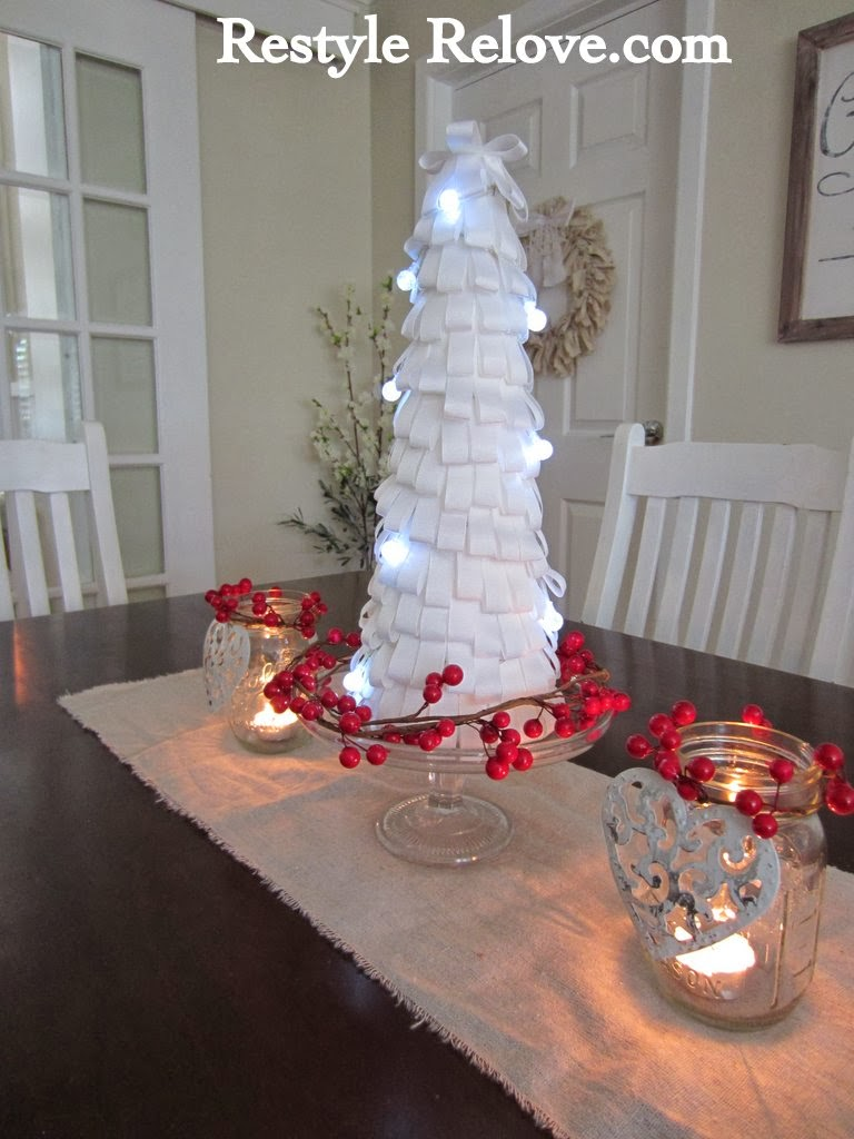 ... Light Up Ribbon Christmas Tree. I Made It Using A Large Polystyrene  Cone And Then Small Strips Of Folded White Ribbon Glued All Around.