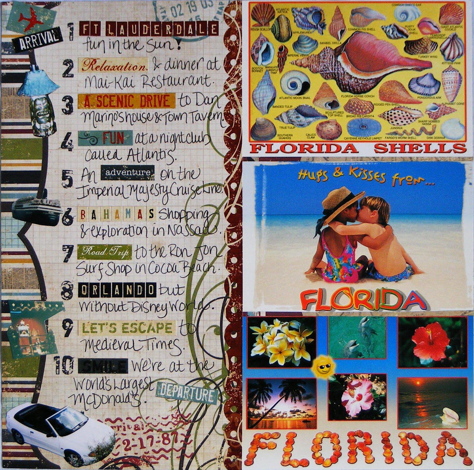 How to scrapbook a road trip - The Honeymoon Scrapbook Album Fort Lauderdale