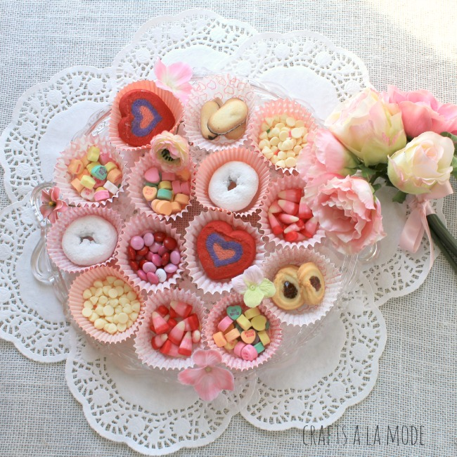 Valentine cupcake papers with candies