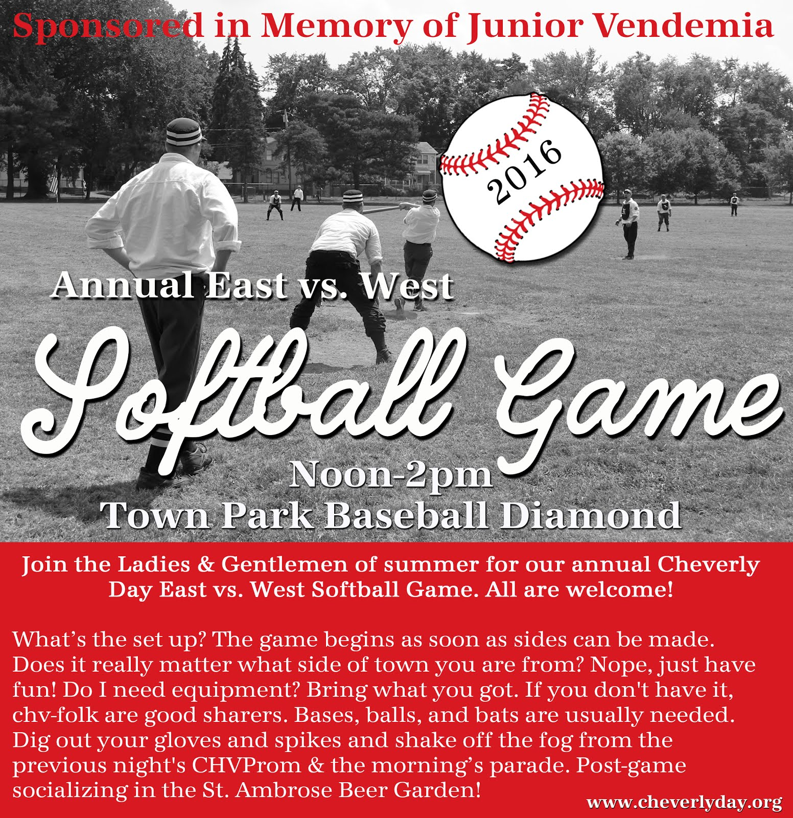 EAST vs WEST Softball Game Sponsored in Memory of Junior Vendemia
