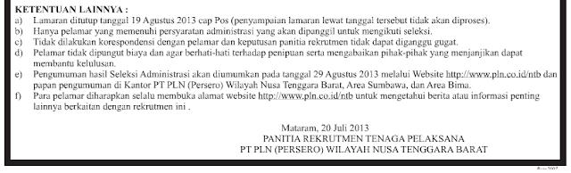 Info Lowongan Kerja di NTB di PT. PLN NTB Juli 2013 ~ Info