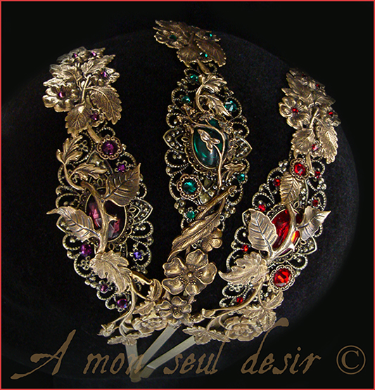 Serre-Tête fleur floral végétal bronze elfique féerique mariage strass Swarovski wedding elven fairy headband headdress
