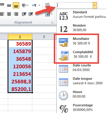 sélectionner format monétaire ou comptabilité