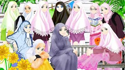 gambar kartun muslim muslimah