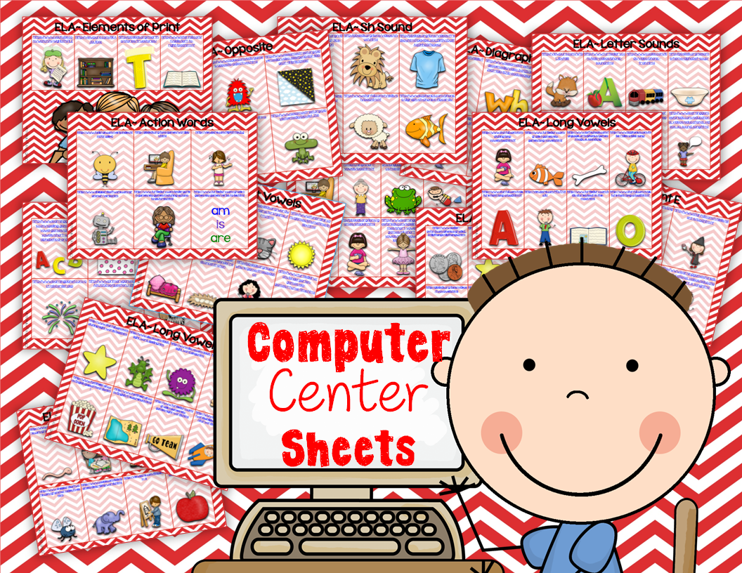 http://www.teacherspayteachers.com/Product/Computer-Center-Sheets-KindergartenELA-1295983