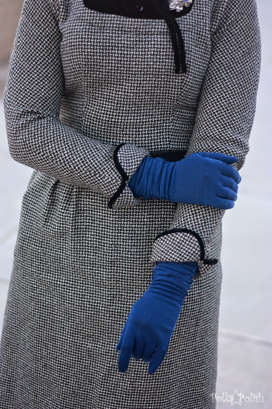 Black and white basketweave wool dress with royal blue gloves