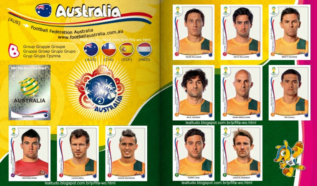 Album AUSTRALIA Fifa World Cup BRAZIL 2014 LIVE COPA DO MUNDO Sticker Figurinha Download Lealtudo