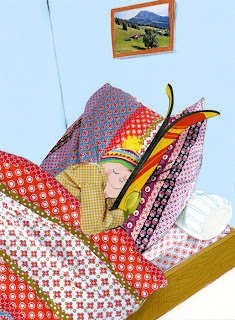 illustration of a little boy sleeping in bed with ski's by Robert Wagt