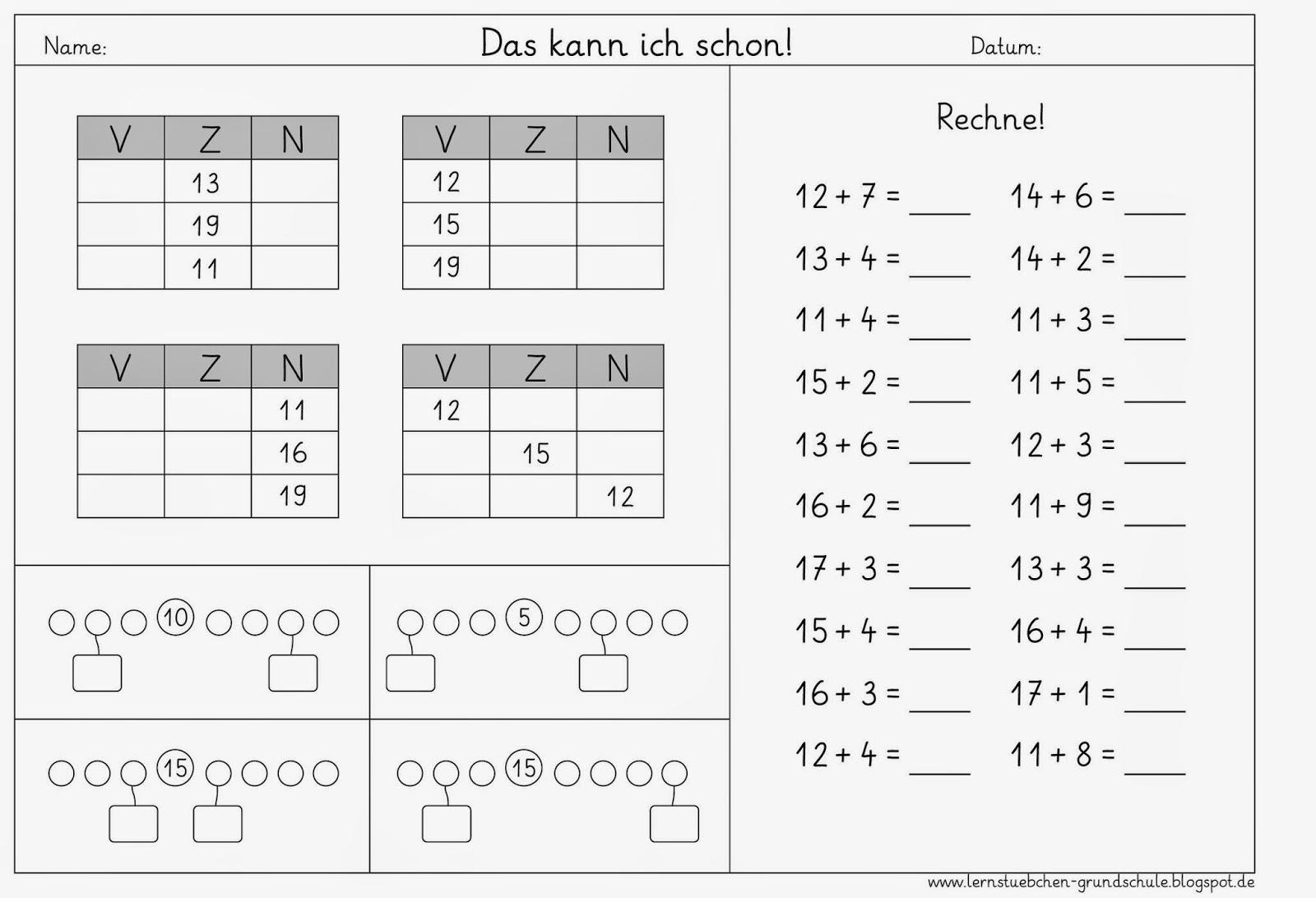 Magnificent Math Zehner Und Einer Tabelle Der Ersten Klasse Motif ...