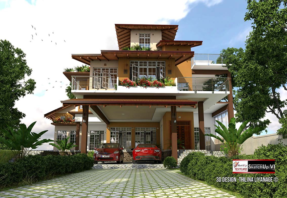 3d sketchup model modern villa #35 vray render front view by Thilina Liyanage