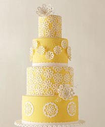 Yellow Wedding Cakes Decorated with Molded Flowers