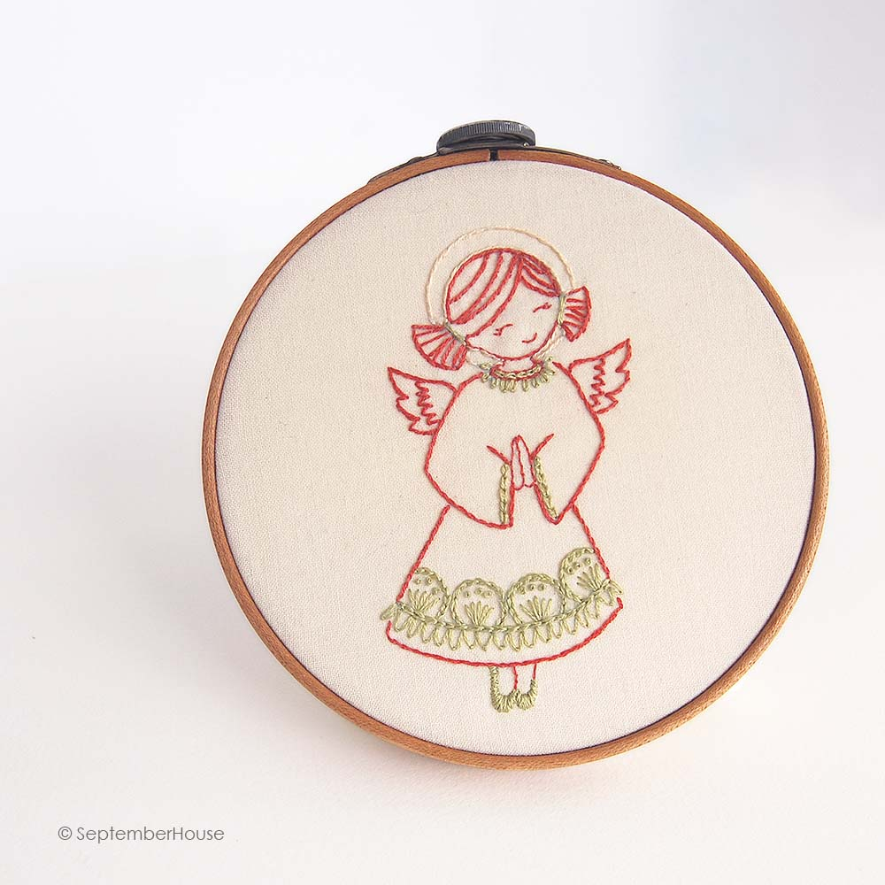 Angel embroidery pattern holiday embroidery designs from SeptemberHouse