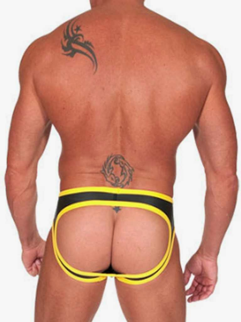 Neoprene Open Back Bottoms Black Yellow Gayrado