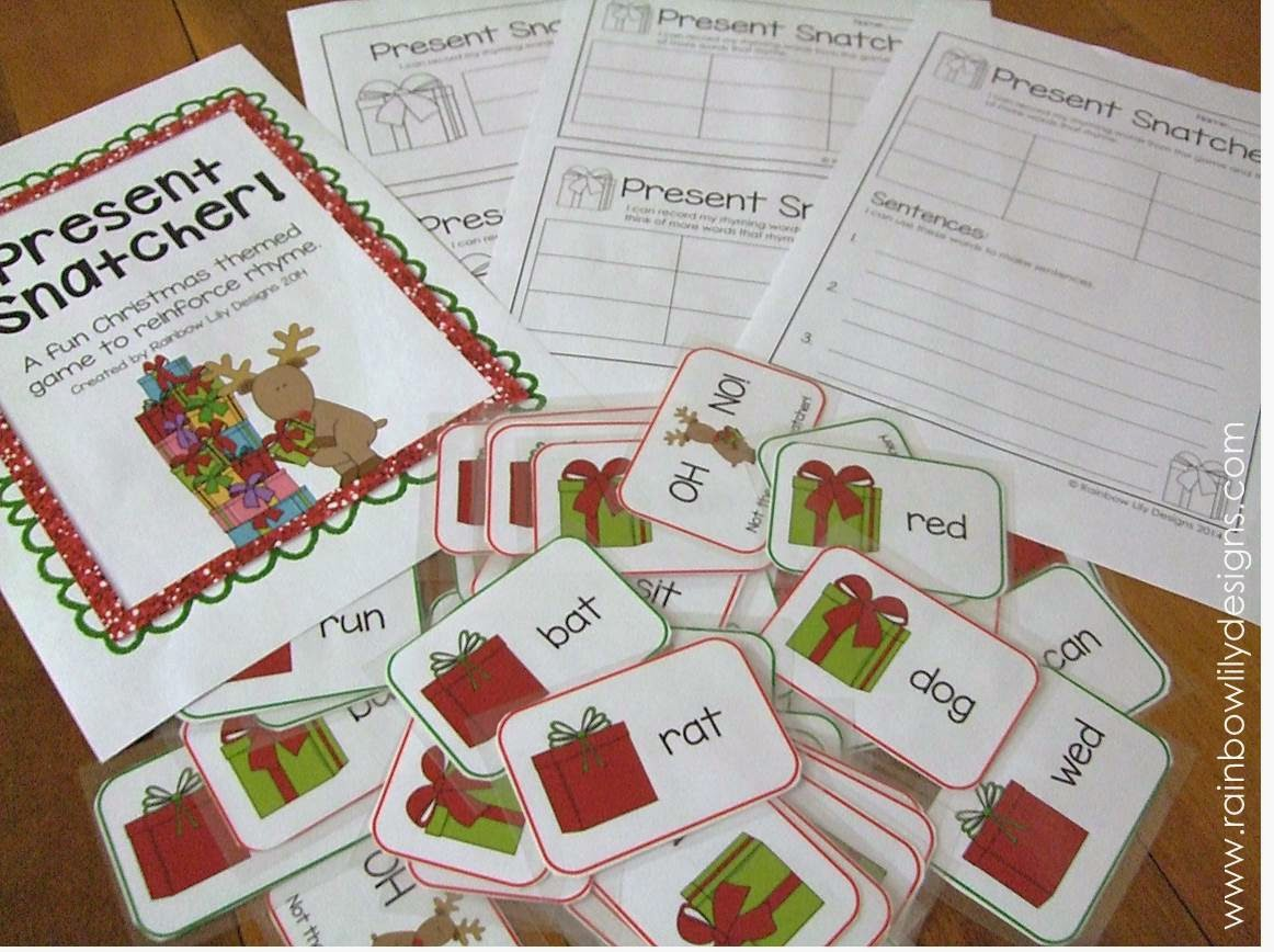 Christmas themed rhyme game and worksheets #education #christmas #RainbowLilyDesigns