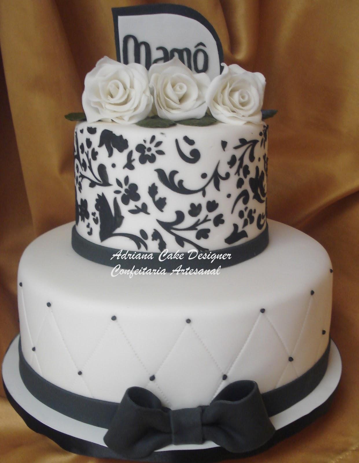 Baños Decorados Elegantes:Bolo De Casamento Preto E Branco