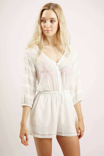 long sleeve playsuit white