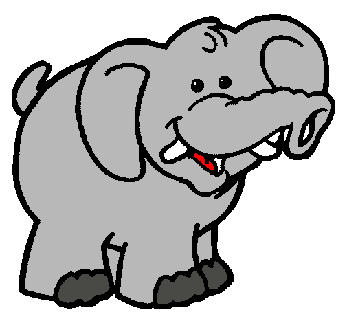 Dibujo a color de un elefante - Imagui