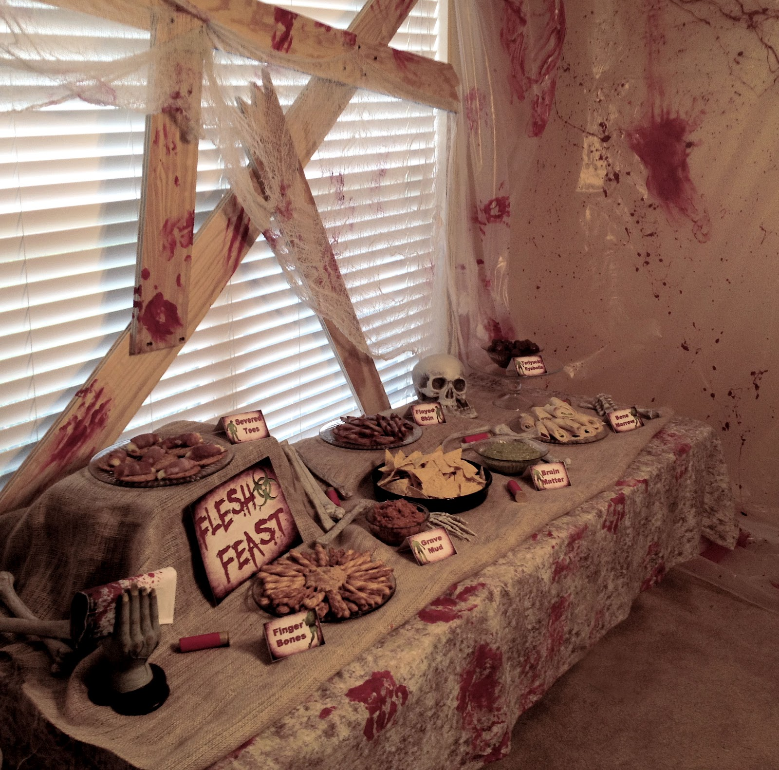 A well crafted party blog archive real party zombie Diy halloween party decorations