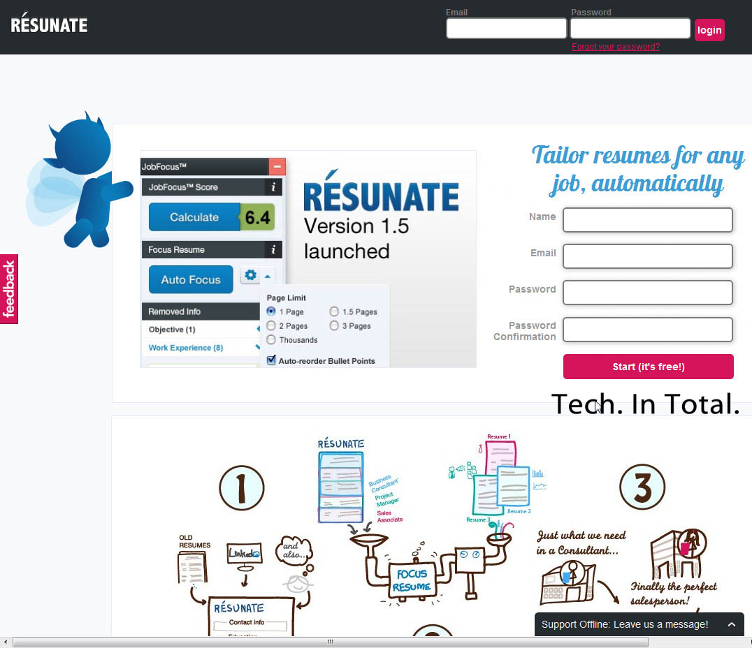 tech  in total   resunate is a smart automatic resume builder that    articles the best resumes are strategically tweaked to precisely match the job description  which means making multiple resumes for the multiple jobs you