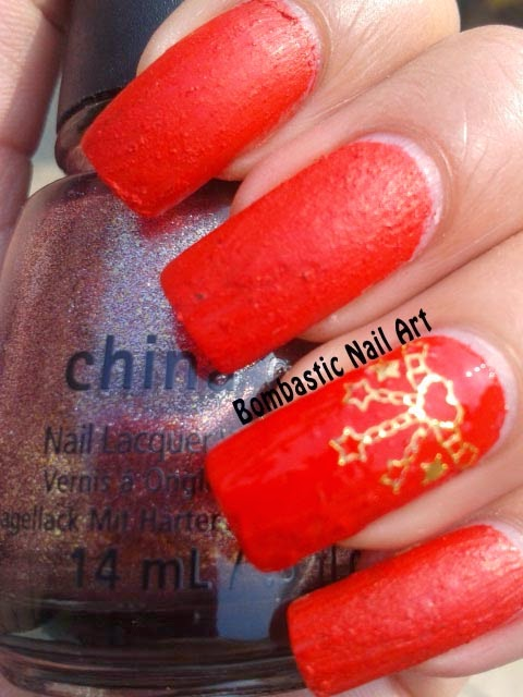 Day 21 Red Liquid Sand Nail Art With Golden Decals Bombastic Nail Art