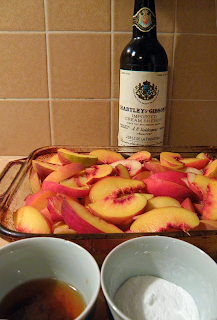 Peaches Layered in Baking dish, Sherry & Lemon,  Sugar & Cornstarch on the side