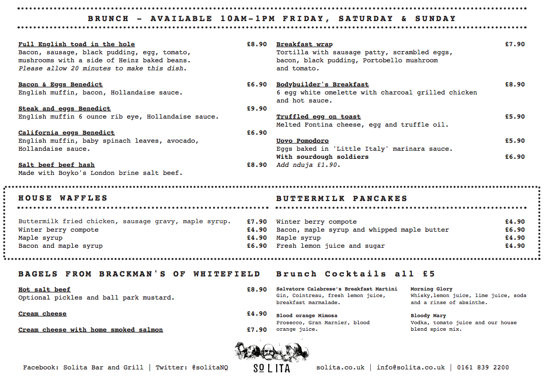 Solita, Manchester - Brunch Menu