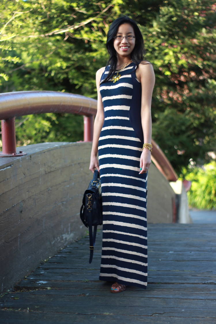 bariii striped maxi panel dress navy cream stripes proenza schouler lean hourglass illusion