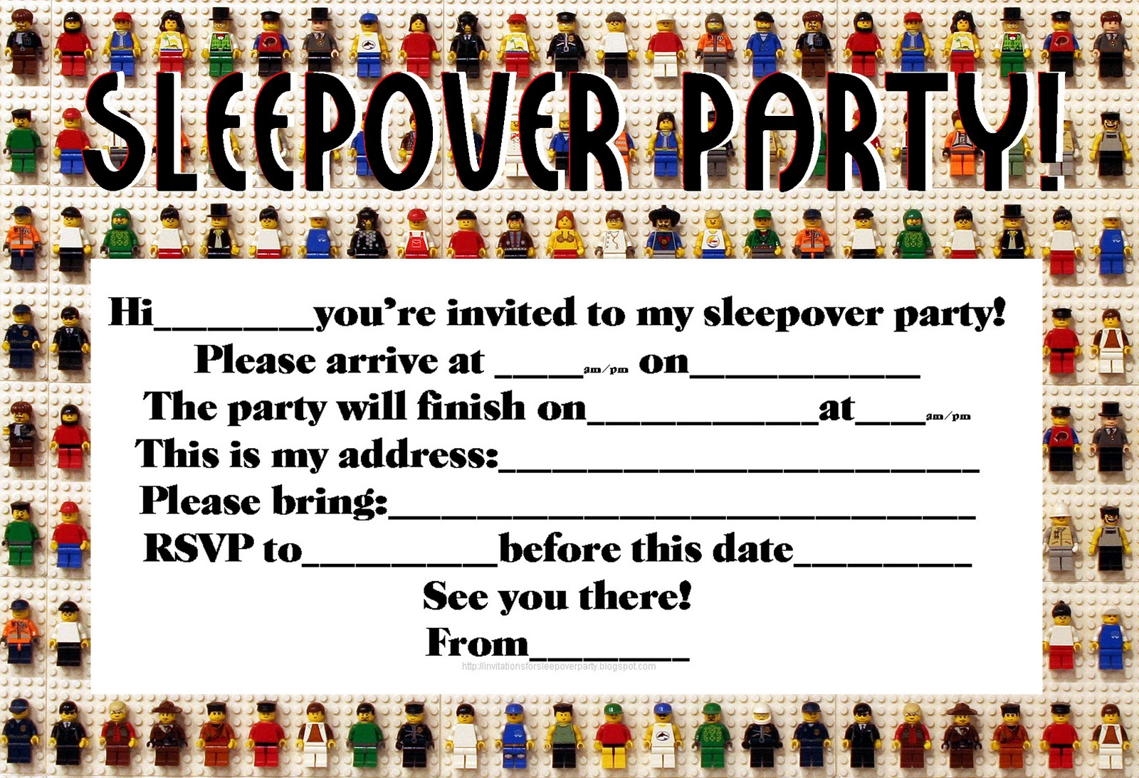 INVITATIONS FOR SLEEPOVER PARTY – Sleepover Birthday Party Invitations