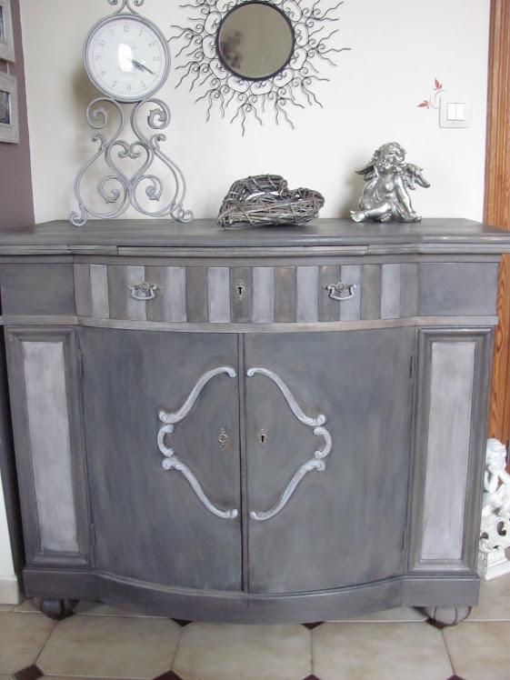 superbe dresse patine taupe lin finition en glacis noire vendu with buffet patine gris ancien. Black Bedroom Furniture Sets. Home Design Ideas