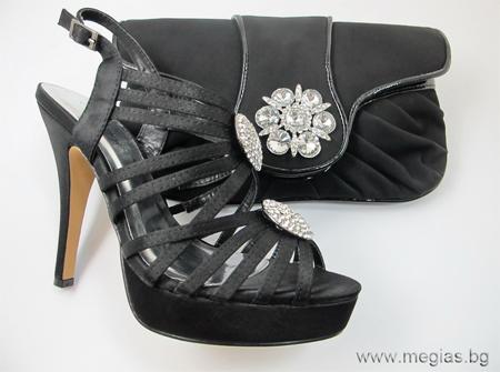 черни сандали с много каишки и чантичка от набук