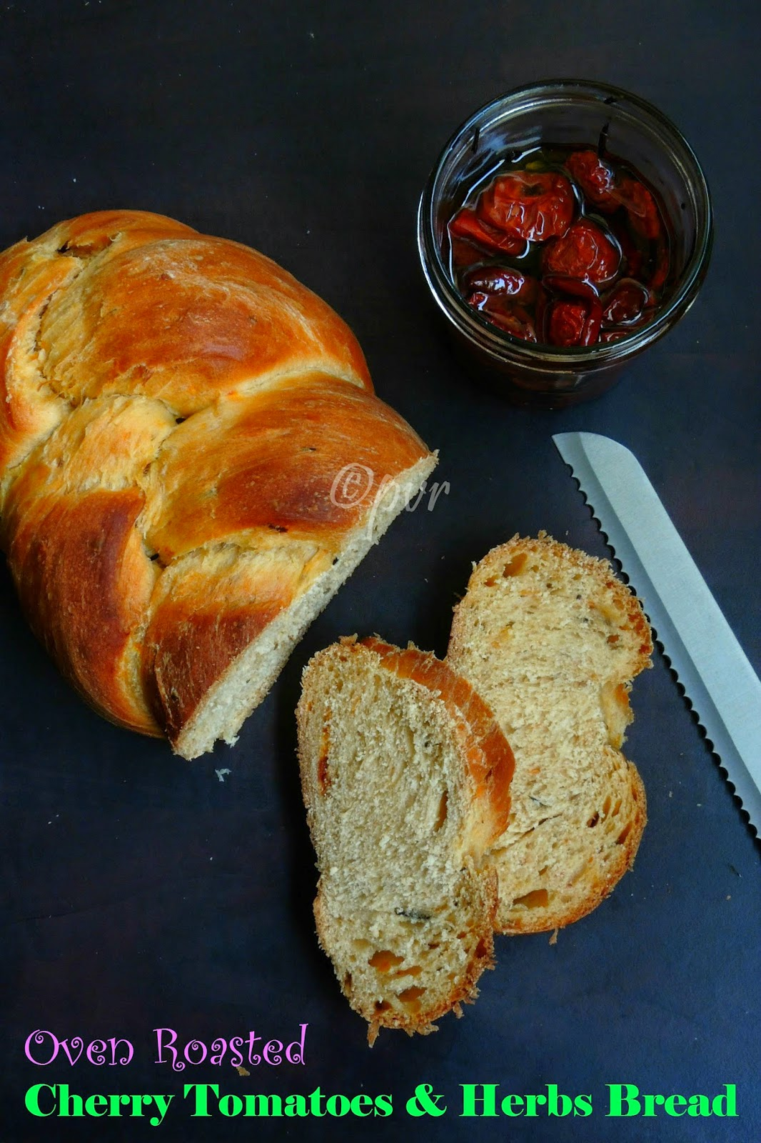 Roasted cherry tomatoes & herbs bread