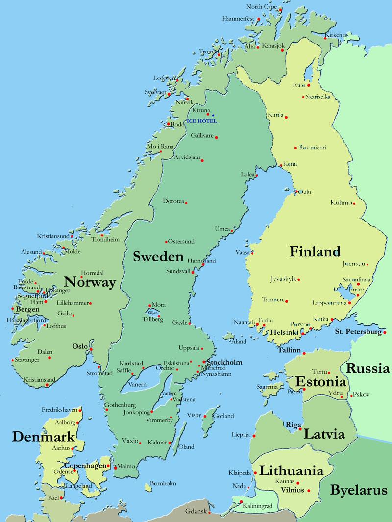 Europe Travel Mapp Map Of Scandinavia Countries Region - Map of europe and scandinavian countries