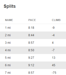 10K Run Splits