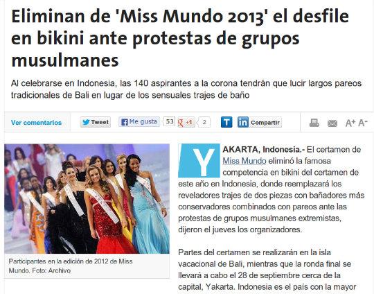 Eliminan de 'Miss Mundo 2013' el desfile en bikini ante protestas de grupos musulmanes
