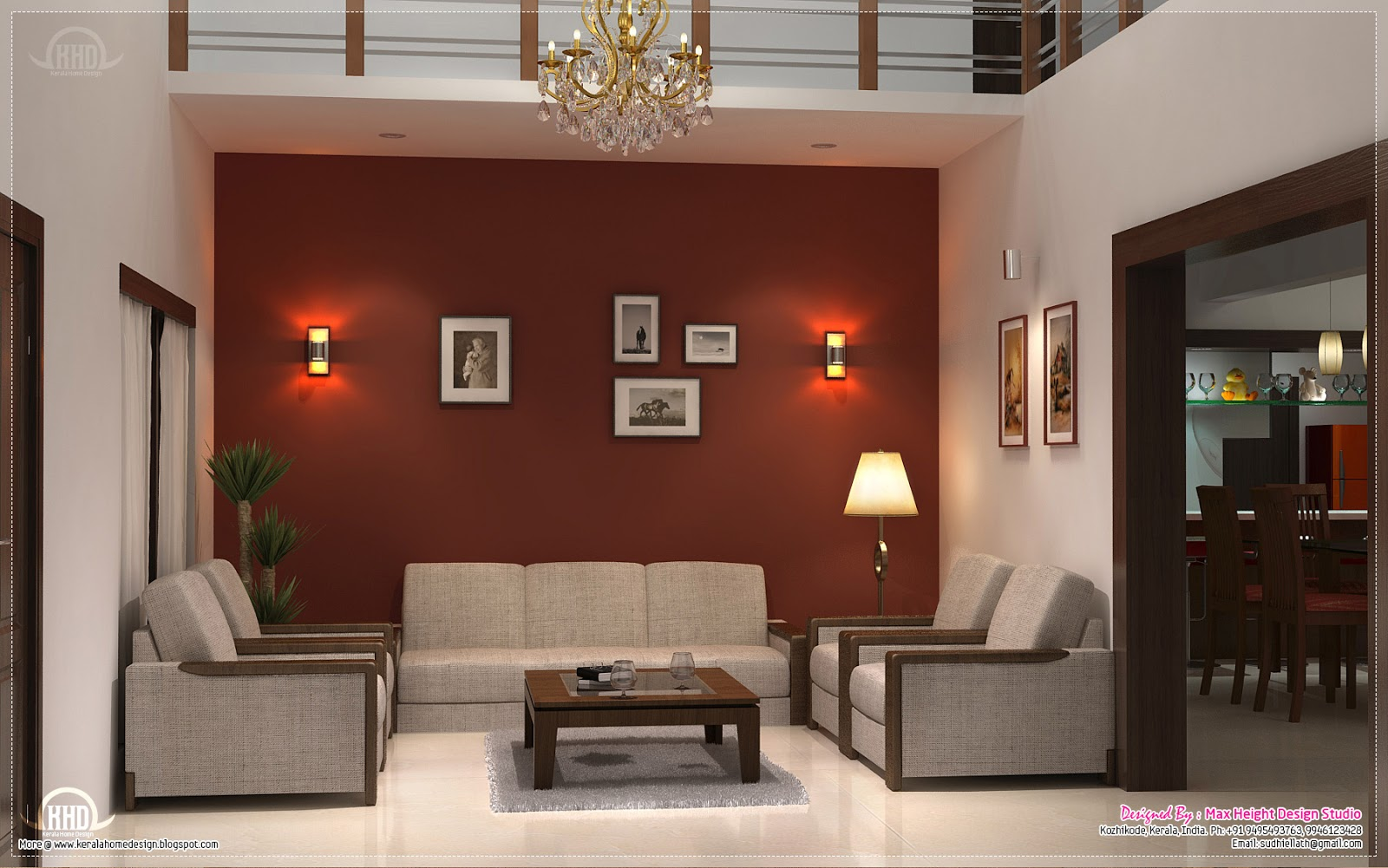 March 2013 kerala home design and floor plans for Living room 3
