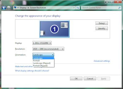 Desktop orientation options in windows 7