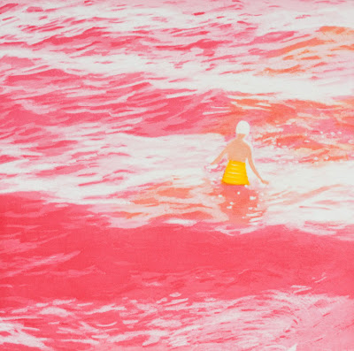 art space, isca greenfield-sanders, wading II, pink, beach