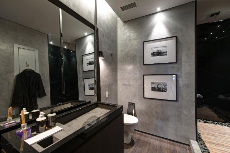 Banheiroslavabos escuros  veja dicas e ambientes lindos com essa tendência! -> Banheiro Decorado Masculino
