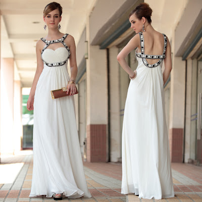 White Sweetheart Floor Length Dress