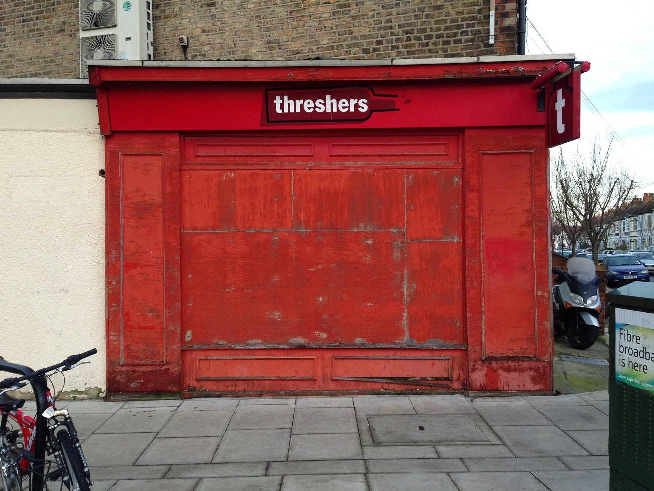 Boarded up shop, Petley Road, Fulham, London