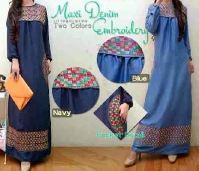 Baju Muslim bahan denim